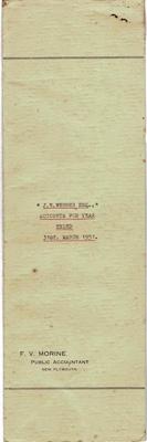 Archives, Financial Accounts of J.N.Webber Esq. Paparahia Station 1951; F.V.Morine; 1951; 1997/4/2e