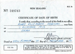 Certificate, Date of BirthRuby Elizabeth Foreman  1913; Registrar-General's Office; 1979; K2001/39/6/7