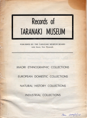 Book,Records of Taranaki Museum.; H.D. Skinner; 1973; 2010/3/10