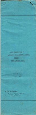 Archives, Financial Accounts of J.N.Webber Esq. Paparahia Station 1946; F.V.Morine; 1946; 1997/4/2a