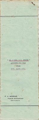 Archives, Financial Accounts of Mr & Mrs J.N Webber, Paparahia Station 1954; F.V.Morine; 1954; 1997/4/2h