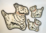 Tablemat set, Embroidered dogs; Molly Farrell; 2004/136