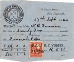 Vosper's Funeral Service Receipt to Mr W H Foreman for the funeral of Helen Florence Foreman; 1944; K2001/39/6/13.2