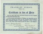 Frankley School'Xmas, 1916Certificate in lieu of Prize; 1916; 2003/97.28