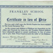 Frankley School'Xmas, 1916Certificate in lieu of Prize; 1916; 2003/97.28
