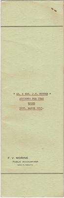Archives, Financial Accounts of Mr & Mrs J.N Webber Paparahia Station 1953; F.V.Morine; 1953; 1997/4/2g