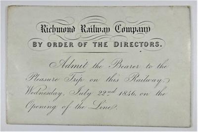 Ticket for Richmond Railway Company; 22/07/1846; LDMRD 0046.2