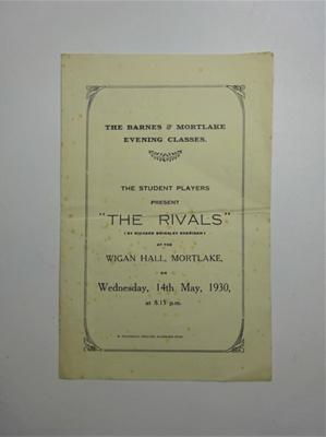 Playbill 'The Rivals'; W. Fransman; 1930; LDMRD 0532.6