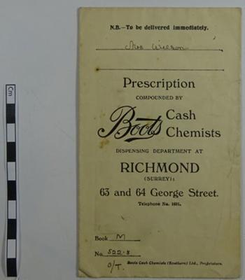 Prescription envelope from Boots; LDMRD 0143.4