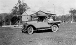 "Photo - Richardson house and  Chevrolet 1928 ""National"" utility; 1928-1930; P-1009-0"