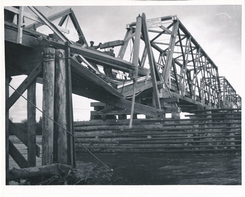 Alcan Highway Wooden Truss Bridge With A Snapped Support Timber