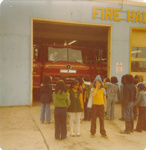 Students waiting for their turn to sit in the firetruck; FNPL2016.011.074