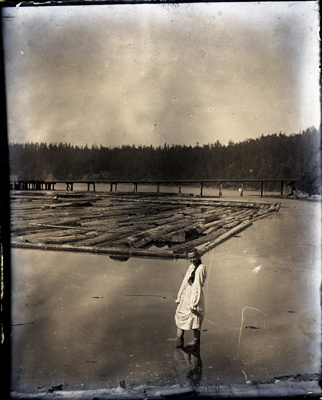 Photograph - Miners Bay with log boom and dock in background.; Aitken, John; 2017.1.315