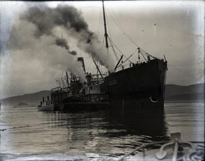 Photograph -  Kinkonmaru on the rocks taken from the photographer's boat.; Aitken, John; 2017.1.309