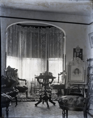 Parlour with Victorian furniture and portrait; Aitken, John; 2017.1.019