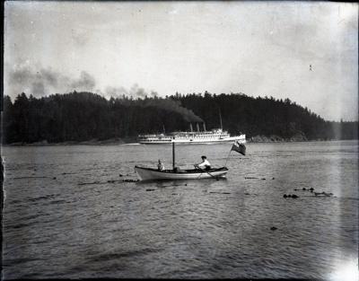 Photograph - Rowboat & steamer in Active Pass.; Aitken, John; 2017.1.320