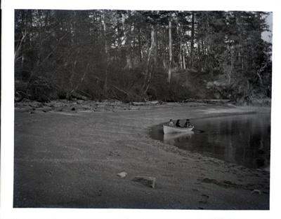 Three kids in a wooden rowboat; Aitken, John; 2017.1.038