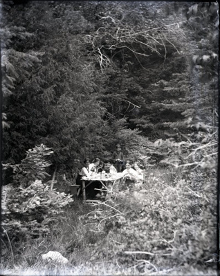 Picnic in the woods with table and benches; Aitken, John; 2017.1.067