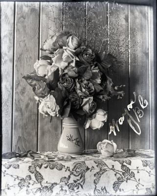 "Photograph -  Roses in jug with ""Mayne, BC"" written in corner.; Aitken, John; 2017.1.307"