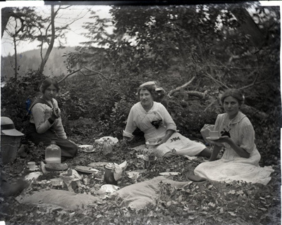 Photograph -  Picnic outside in the bush with girls and man. ; Aitken, John; 2017.1.298