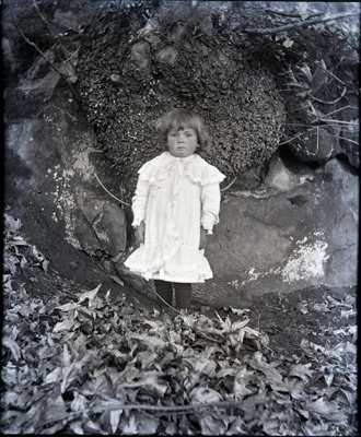Child posed in front of a burl outdoors; Aitken, John; 2017.1.005