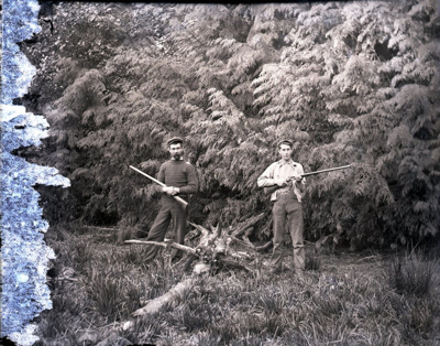 Photograph - Posed outdoors hunting scene.; Aitken, John; 2017.1.329