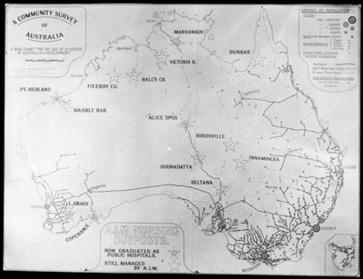 A community survey of Australia : A.I.M. nursing outposts / prepared by A.I.M. Frontier Services; Australian Inland Mission Frontier Services; 1920-1929; HL.NL.17345541