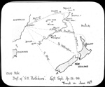 [Map of the] 1500 mile drift of S.S. Perthshire, left Syd. [i.e. Sydney] Ap : 26:99 [i.e. 26.4.1899], towed in June 19th; Australian Inland Mission Frontier Services; 1920-1929; HL.NL.17365149
