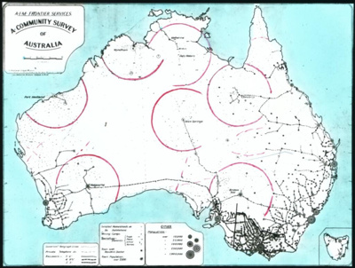 A community survey of Australia [map with circles indicating range of aircraft from flying doctor bases] / A.I.M. Frontier Services; Australian Inland Mission Frontier Services; 1930-1939; HL.NL.17363921