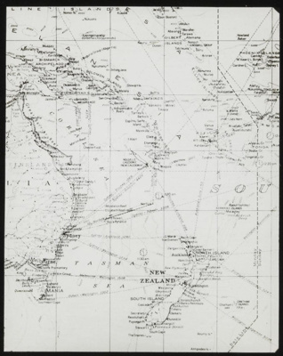 Lantern Slide - Map Showing New Zealand, New Caledonia, Fiji & Eastern Australia, circa 1920s; MV.MM.113734