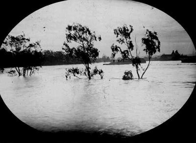 Lantern Slide - Flood, Yarra River, Victoria, 1896