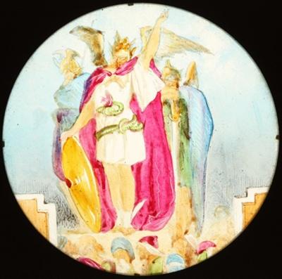 Lantern Slide - The Holy War, 'Diabolus Incites Mansoul to War', 1850-1910; 1850-1910; MV.MM.112688