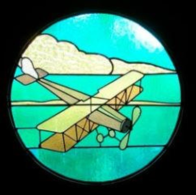 Aeroplane stained glass window