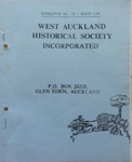 West Auckland Historical Society Newsletter 028; 1981-03 NL March
