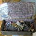 Jewellery box; Embossed brass box with ladies jewellery and other items including cotton thread; ART-0084