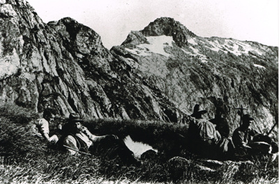 Men Tramping Possibly Harry Birley second from left; 2017.1.540