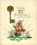 21st birthday card, or booklet sent to Harry Simpson from Aunty Dolly, Len and Edna; Stitch, Wilhelmina; Valentines Series; 2017.11.19