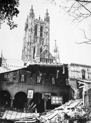 photo negative - Bomb damage to Canterbury Cathedral; 1942; 2018.1.346