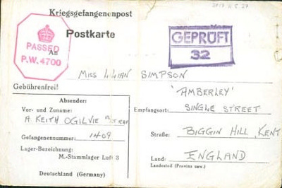 A POW postcard to Lilian Simpson from Keith Ogilvie, 17th December 1942.; Ogilvie, Keith; 17/12/1942 ; 2017.11.5.27