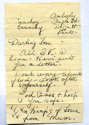 A letter to Harry Simpson from his mother, dated 'Sunday evening'; Simpson, Mrs; 2017.11.31
