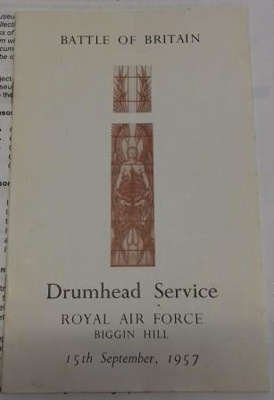RAF Battle of Britain Drumhead Service booklet, 15th September 1957; 2017.19.8
