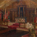 Oil painting of the Original RAF St George's Chapel by Elva Blacker, with unfinished portrait of Canadian pilots on the reverse.; Blacker, Elva; 1944; 2017.23