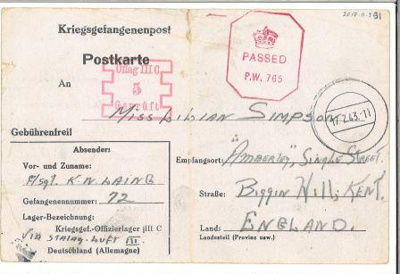 A POW postcard to Lilian Simpson from pilot K.N Laing, 4th February 1943.; Laing, Kenny; 04/02/1943; 2017.11.5.31