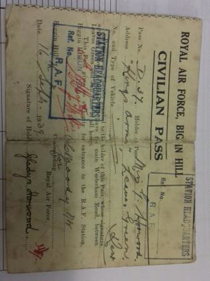 RAF Biggin Hill civilian pass belonging to Gladys Horwood of the 'Kings Arms', Leaves Green.; RAF; 1939; 2017.19.1