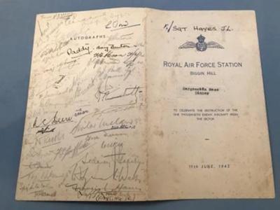 Dinner menu from '1000th kill' celebration dinner at the Biggin Hill Sergeants Mess. ; 11/06/1943; L002