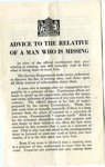 A notice for 'Advice to the relative of a man who is missing'.; British Government; 2017.11.27