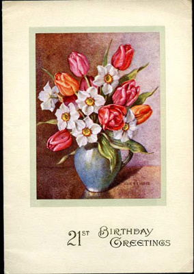 21st birthday card sent to Harry Simpson from his sister Lilian  ; 2017.11.23