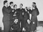 photo negative - a mess party to celebrate the awarding of three Military Medals; Porter, David; Daily Sketch Newspaper; March 1941; 2018.1.380