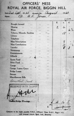 photo negative - Mess bill, August 1940; 1940; 2018.1.342