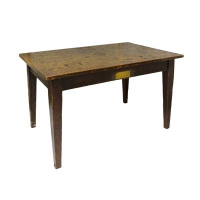 Pub table inscribed with the names of the Guys medical students and fighter pilots from Biggin Hill; 1941; 2017.21